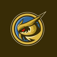Owl gaming in circle logo design