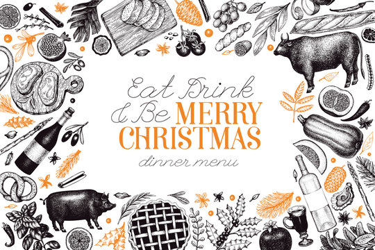 Happy Christmas Dinner design template. Vector hand drawn illustrations. Greeting Christmas card in retro style. Frame with harvest, vegetables, pastry, bakery, meat