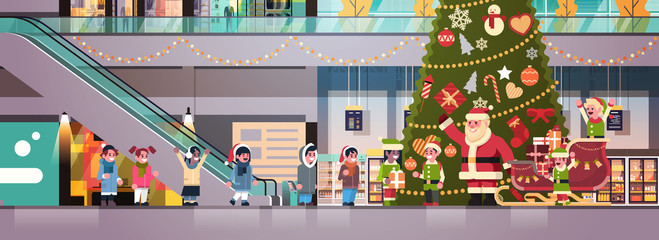 santa claus elves give present gift box mix race children group modern retail store interior decorated for christmas holiday new year concept flat horizontal vector illustration