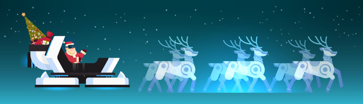 Santa wear digital glasses in robotic modern sleigh virtual reality reindeer merry christmas happy new year greeting card winter holidays concept horizontal flat vector illustration