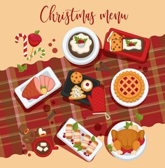 Christmas delicious traditional food on a table. Top view