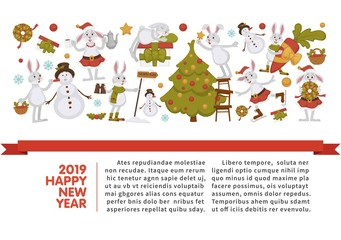 2019 New year celebration, bunny with snowman winter character vector.