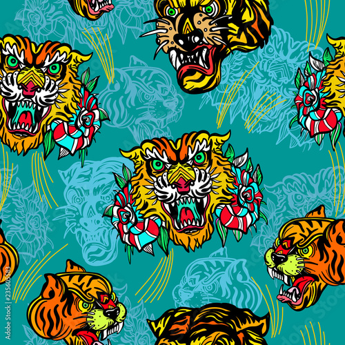 12c4dcc54 Tigers seamless pattern, old school tattoo vector. Classic flash tattoo  style, patches and