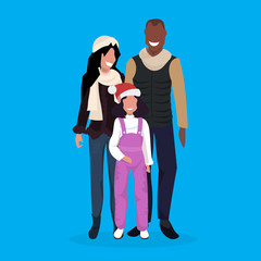 mix race family standing together merry christmas happy new year holidays concept flat full length vector illustration