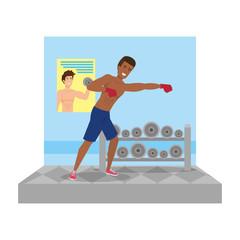 man practicing boxing character