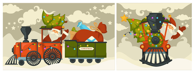 Christmas holiday preparation Santa Claus with evergreen tree