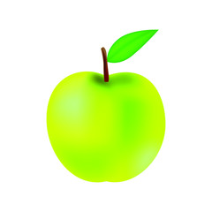 Vector illustration of yellow green apple with leaf, colorful icon