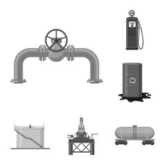 Vector illustration of oil and gas icon. Collection of oil and petrol vector icon for stock.
