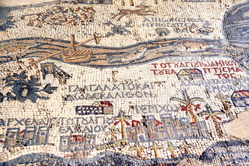 Poster Middle East Byzantine mosaic with map of Holy Land, Madaba, Jordan