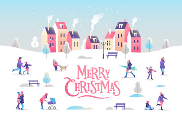 Merry Christmas greeting card. Snowy street. Urban landscape with people. Vector illustration.