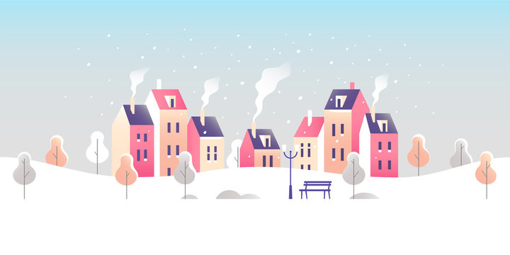 Winter cityscape. Snowy street in small town. Vector illustration.