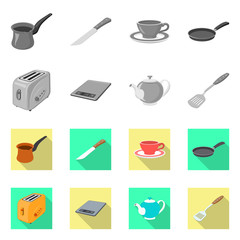 Vector illustration of kitchen and cook icon. Collection of kitchen and appliance stock symbol for web.