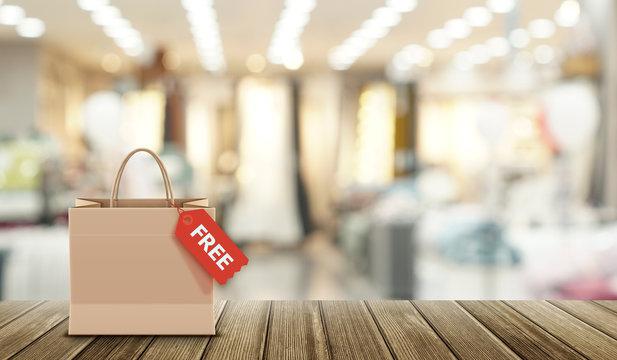 쇼핑몰 매장 카메라 모션 블러효과처리한 카피공간활용 이미지