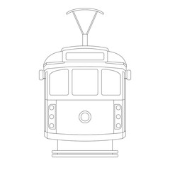 vintage tram  ,vector illustration ,  lining draw
