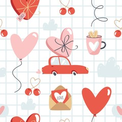 Valentine's Day vector seamless pattern.