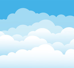 Sky and clouds. Cartoon cloudy background. Heaven scene with blue sky and white cloud. Vector illustration. Background scene cloud, heaven cloudy cumulus in air