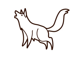 Wolf howling cartoon graphic vector.