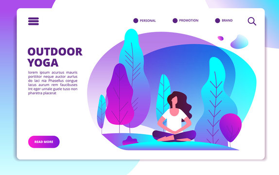 Yoga landing page. Woman doing fitness workout. Healthy life and meditation in forest. Web flat design template. Illustration of woman meditation yoga concentration, banner web page