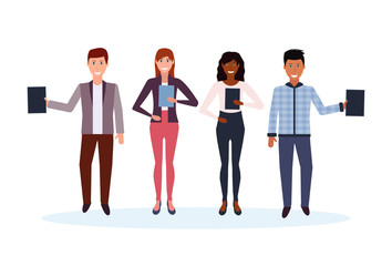 mix race business people holding folder standing together happy man woman office workers male female cartoon character full length isolated flat horizontal