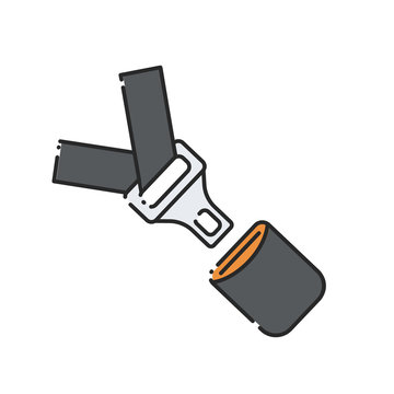Car seat belt and lock icon.
