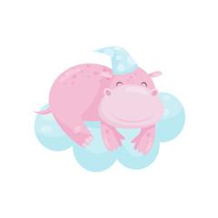Cute little hippo sleeping on a cloud, lovely animal cartoon character, good night design element, sweet dreams vector Illustration