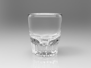 Empty transparent vodka glass on gloss gray background with reflections. Side view. 3D render