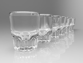Row of seven transparent vodka glasses on gray white background on gloss surface. 3D render
