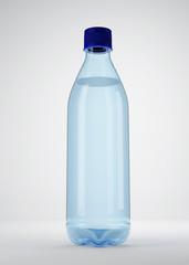 Water bottle, on a grey background, mockup for the presentation. 3d illustration