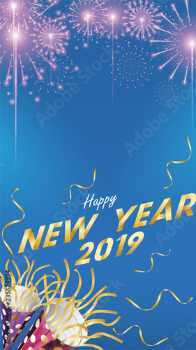 2019 happy new year background for seasonal flyers and greetings card or invitations background with fireworks