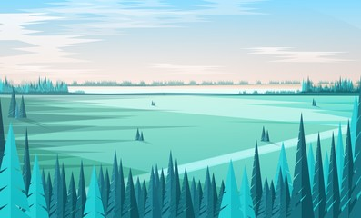 Banner template with natural scenery or landscape, green coniferous forest trees on foreground, large field, horizon line and clear sky on background. Colored vector illustration in modern flat style.