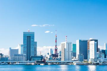 (東京都ー都市風景)晴海ふ頭から望む竹芝桟橋側風景1