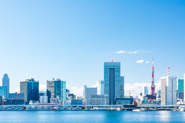 (東京都ー都市風景)晴海ふ頭から望む竹芝桟橋側風景4