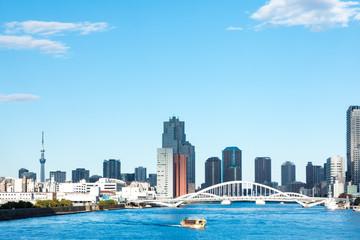 (東京都ー都市風景)竹芝桟橋から望む墨田側風景6