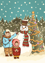 Children make snowman, cartoon colorful drawing, vector illustration. Painted cute boy and girl, funny snowman and New Year's decorated Christmas fir-tree in the park with snow and falling snowflakes