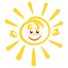 cheerful shining sun with face and hands