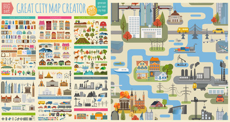 Great city map creator.Seamless pattern map and  Houses, infrastructure, industrial, transport, village and countryside set. Make your perfect city Fototapete