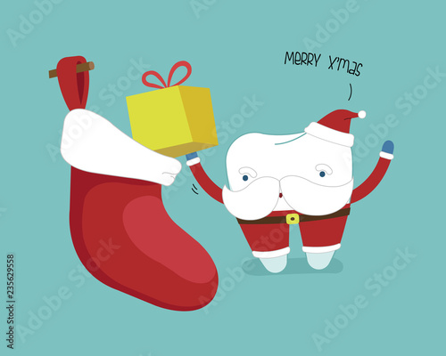 happy new year of dental tooth saying with megaphonesingle white tooth healthy