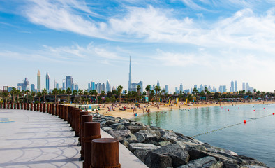 Panoramic view of Dubai downtown from La Mer beach