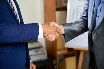 Close-up of two men in suits greeting to each other at business meeting