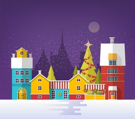 Fototapete - Evening winter urban landscape with old city, town or village. Snowy cityscape with buildings and trees decorated for Christmas or New Year celebration. Colored vector illustration in flat style.