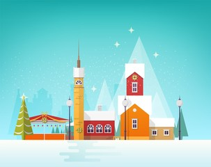 Wall Mural - Beautiful view of winter city or town in snowfall. Snowy cityscape or landscape with old buildings and tower decorated for Christmas celebration. Colorful vector illustration in trendy flat style.