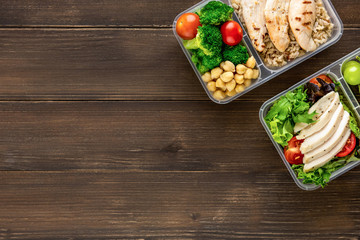 Clean healthy low fat ready to eat food in meal boxes Wall mural