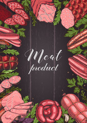 Horizontal background with different color meat products in sketch style. Sausages, ham, bacon, lard, salami