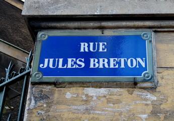Rue Jules Breton; Paris; Plaque de nom de rue