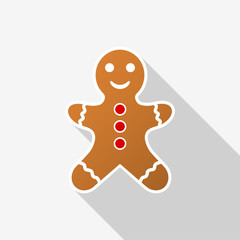 Gingerbread man icon with long shadow on white background. Vector Illustration EPS 10