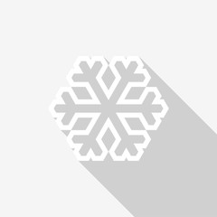 White snowflake outline icon with long shadow on white background. Vector Illustration EPS 10