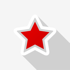 Red star icon with long shadow on white background. Vector Illustration EPS 10
