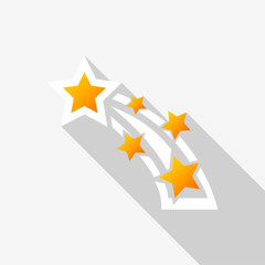Shooting star icon with long shadow on white background. Vector Illustration EPS 10