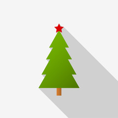Green Christmas tree icon with a red star and long shadow on white background. Vector Illustration EPS 10
