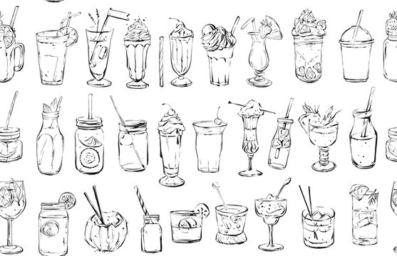 Hand drawn vector abstract ink graphic brush textured sketch drawing seamless pattern with big collection of cocktails and dessert drinks isolated on white background